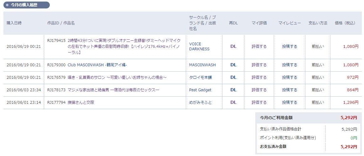 DLsite購入履歴6月途中
